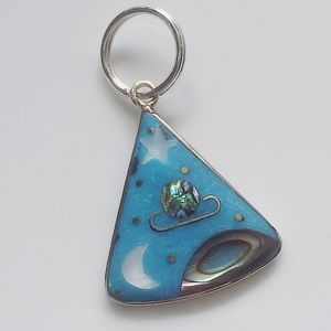 Jewelry - Alpaca Silver Shell Inlay Space Pendant Necklace